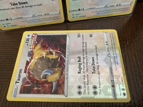 Pokemon - Tauros x3 Reverse Holo & Holo - Chilling Reign - 115/198 Deck Building - Image 3