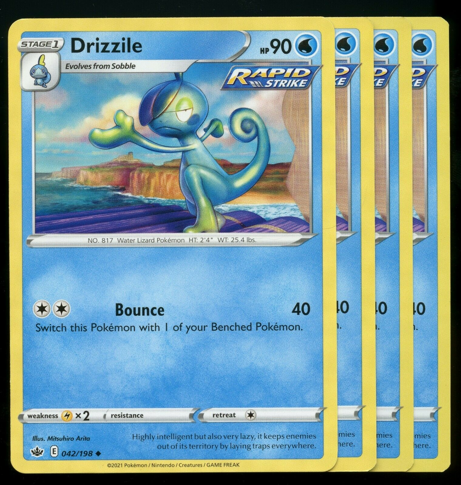Pokemon Cards x4 Drizzile 042/198 Chilling Reign Playset Excellent