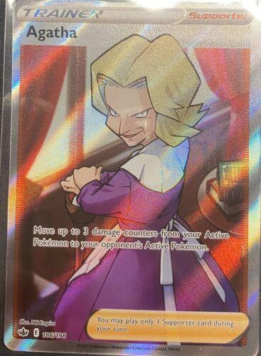 Agatha Full Art 186/198 Chilling Reign NM Pokemon TCG