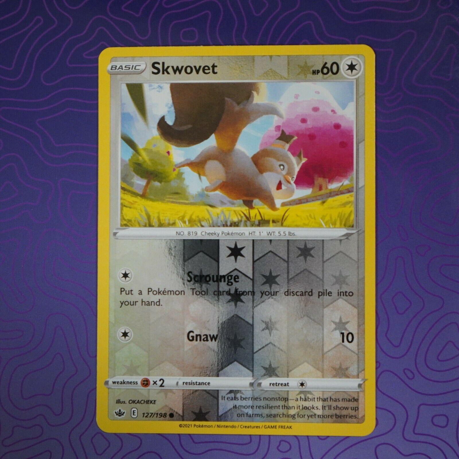 Skwovet 127/198 Reverse Holo Card Chilling Reign NM Pokemon
