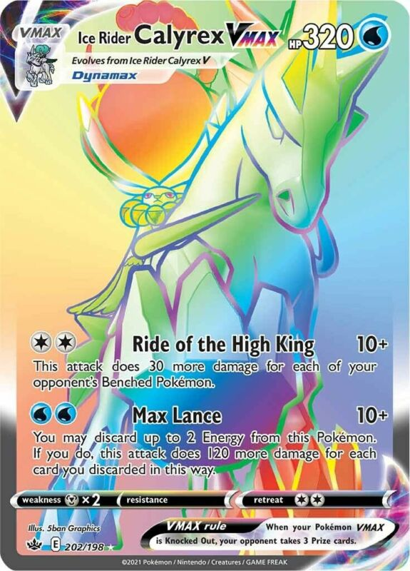 POKEMON TCG SS CHILLING REIGN : Ice Rider Calyrex VMAX 202-198 - RAINBOW RARE