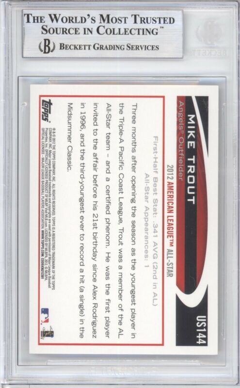 MIKE TROUT BGS 9 2012 TOPPS UPDATE BASEBALL #US144 ALL STAR GOLD SPARKLE ANGELS - Image 2