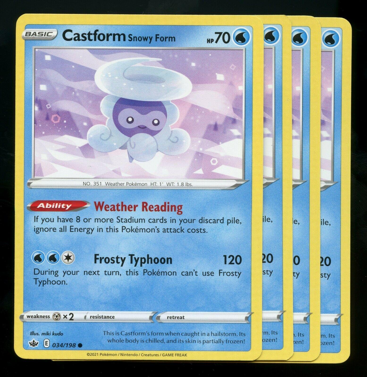 Pokemon Cards x4 Castform Snowy Form 034/198 Chilling Reign Playset Excellent
