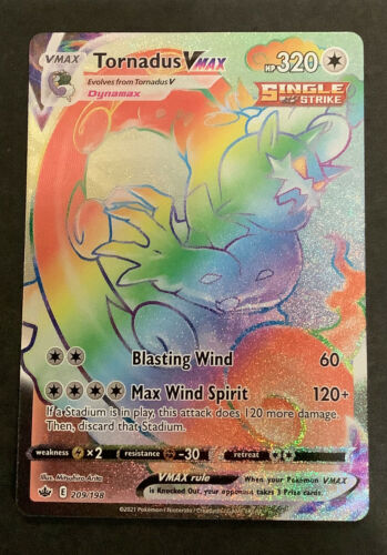 🌈Pokemon Tornadus VMAX Secret Rainbow Full Art Rare 209/198 Chilling Reign 🌈