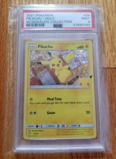 2021 Pokemon McDonald's Pikachu Holo 25th Anniversary Promo 25/25 PSA 9 Mint
