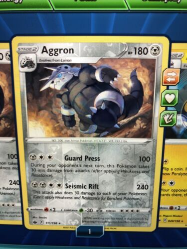 Pokemon : SWSH CHILLING REIGN AGGRON 111/198 REVERSE Holo Digital Card