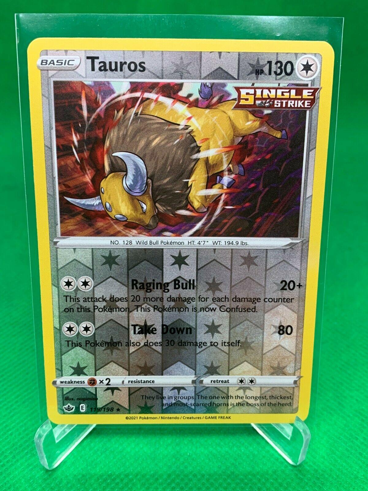 Pokemon - Tauros - Chilling Reign - 115/198 -  Reverse Holo Rare