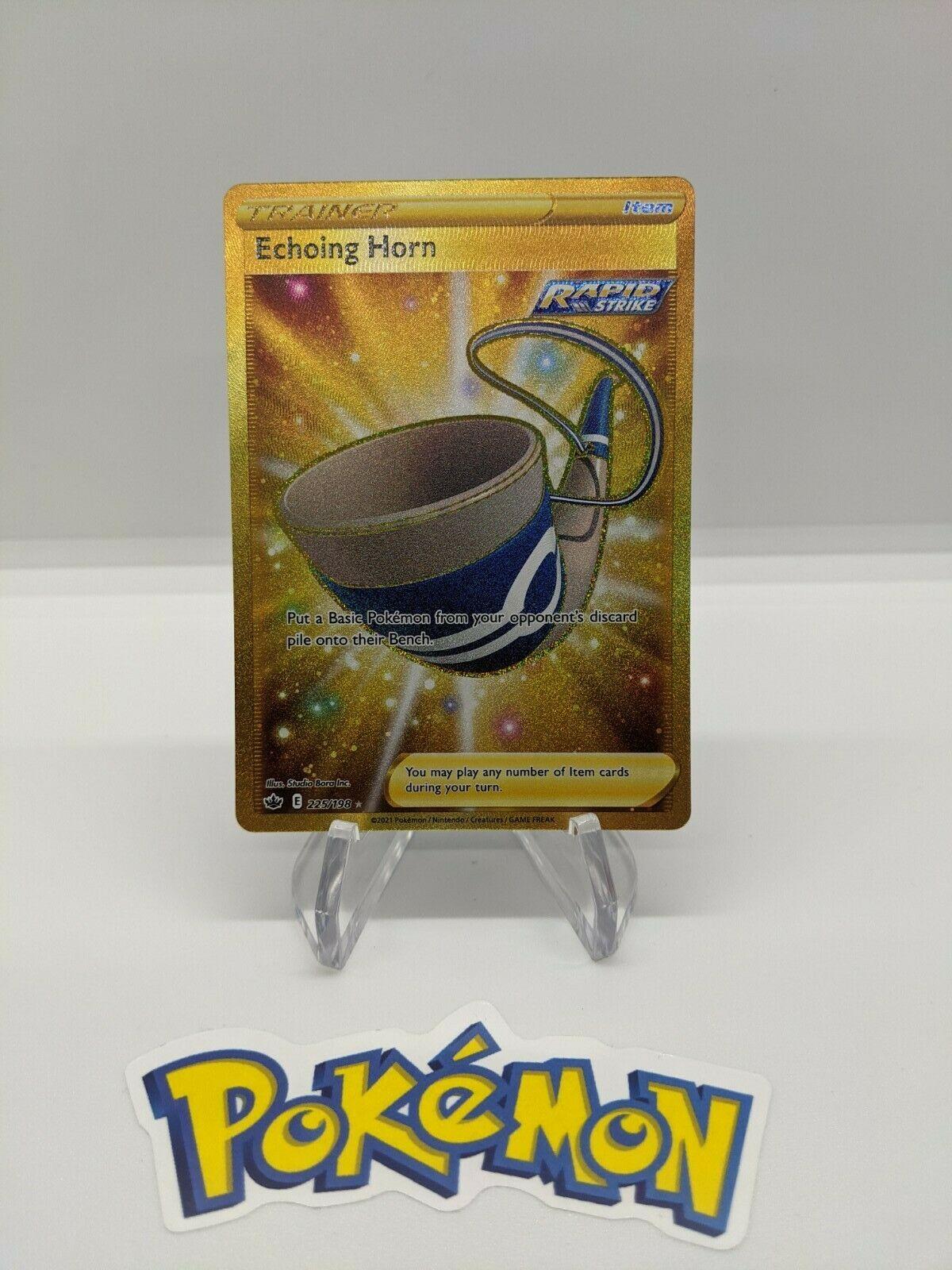 Pokemon Chilling Reign Echoing Horn 225/198 gold secret rare NM/M