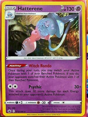 Pokemon Card    HATTERENE   Holo Rare  073/198   CHILLING REIGN   *MINT*