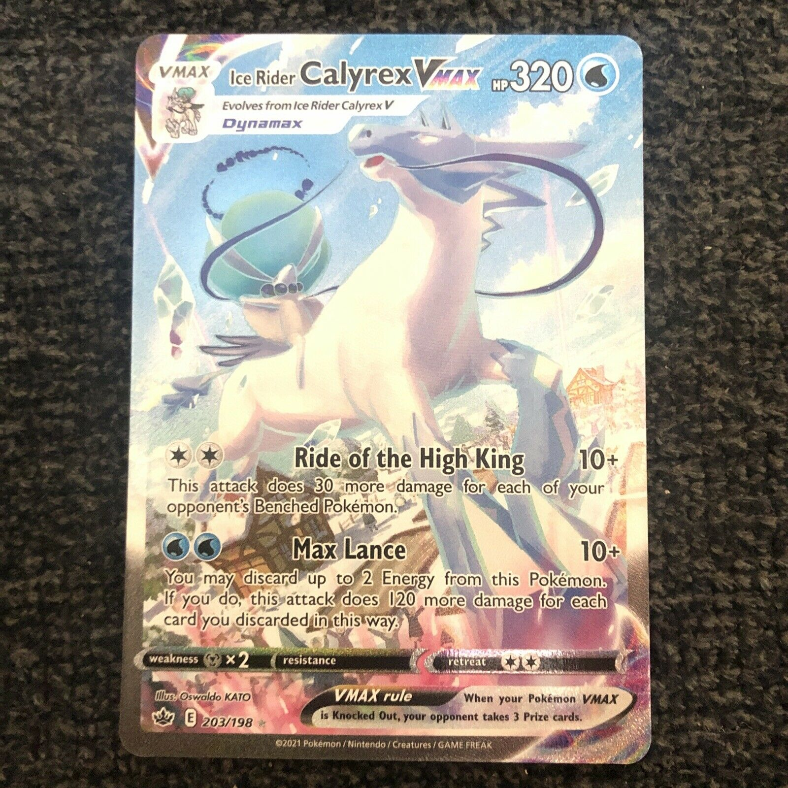 Ice Rider Calyrex VMAX 203/198 Alternate Art NM/M Chilling Reign Pokemon Card