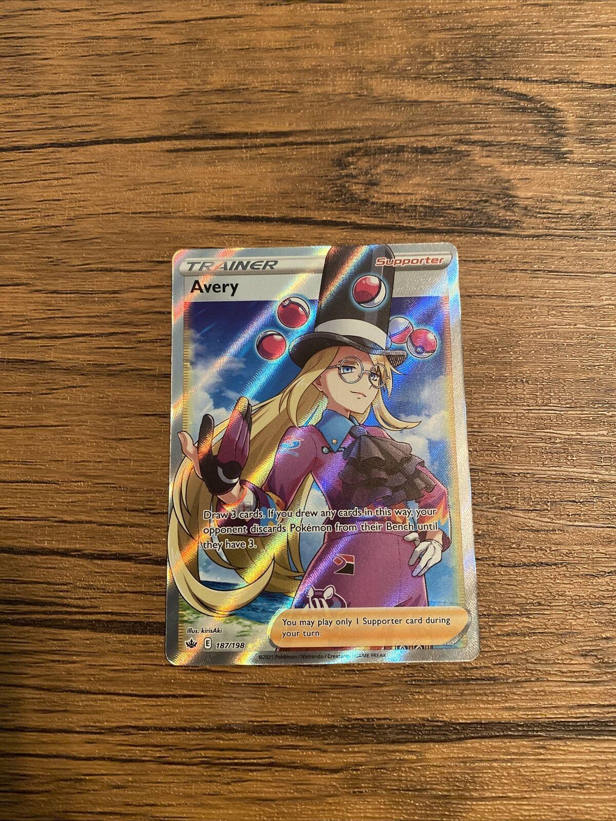 Avery 187/198 Full Art Trainer SWSH Pokemon Chilling Reign Near Mint- FRESH PULL