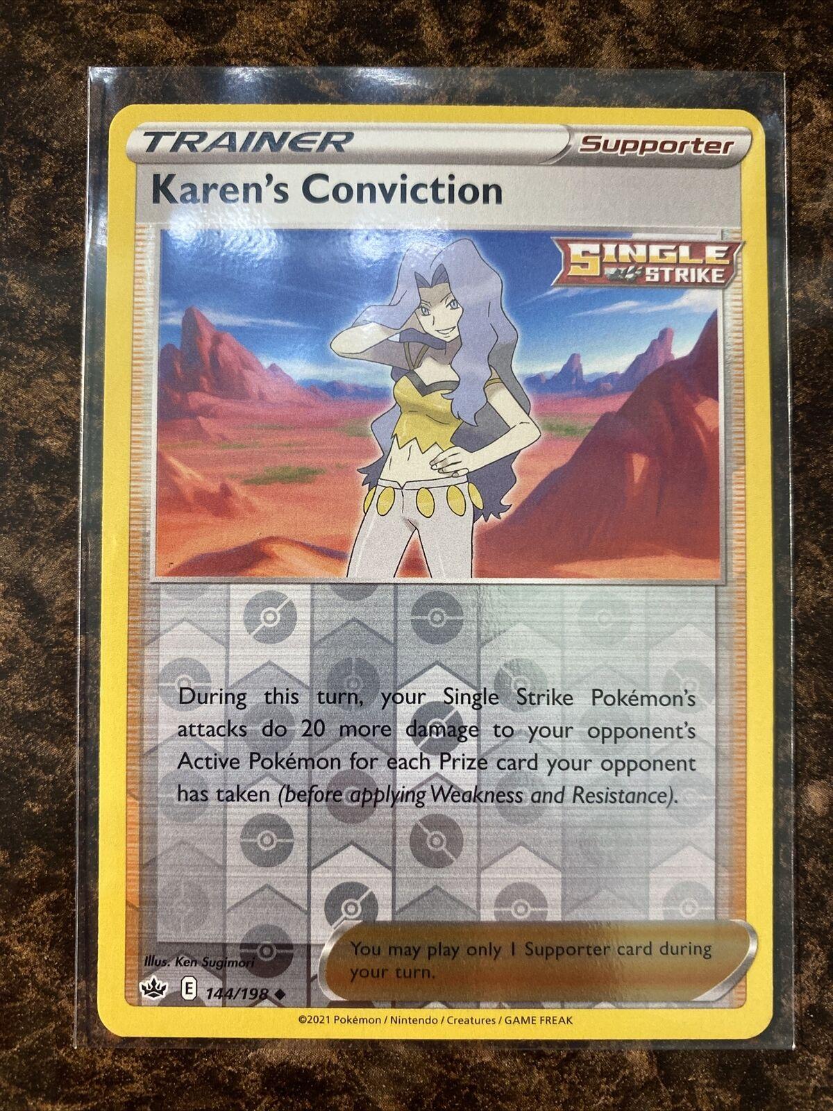 Karen's Conviction 144/198 - Recerse Holo - pokemon Chilling Reign - Mint