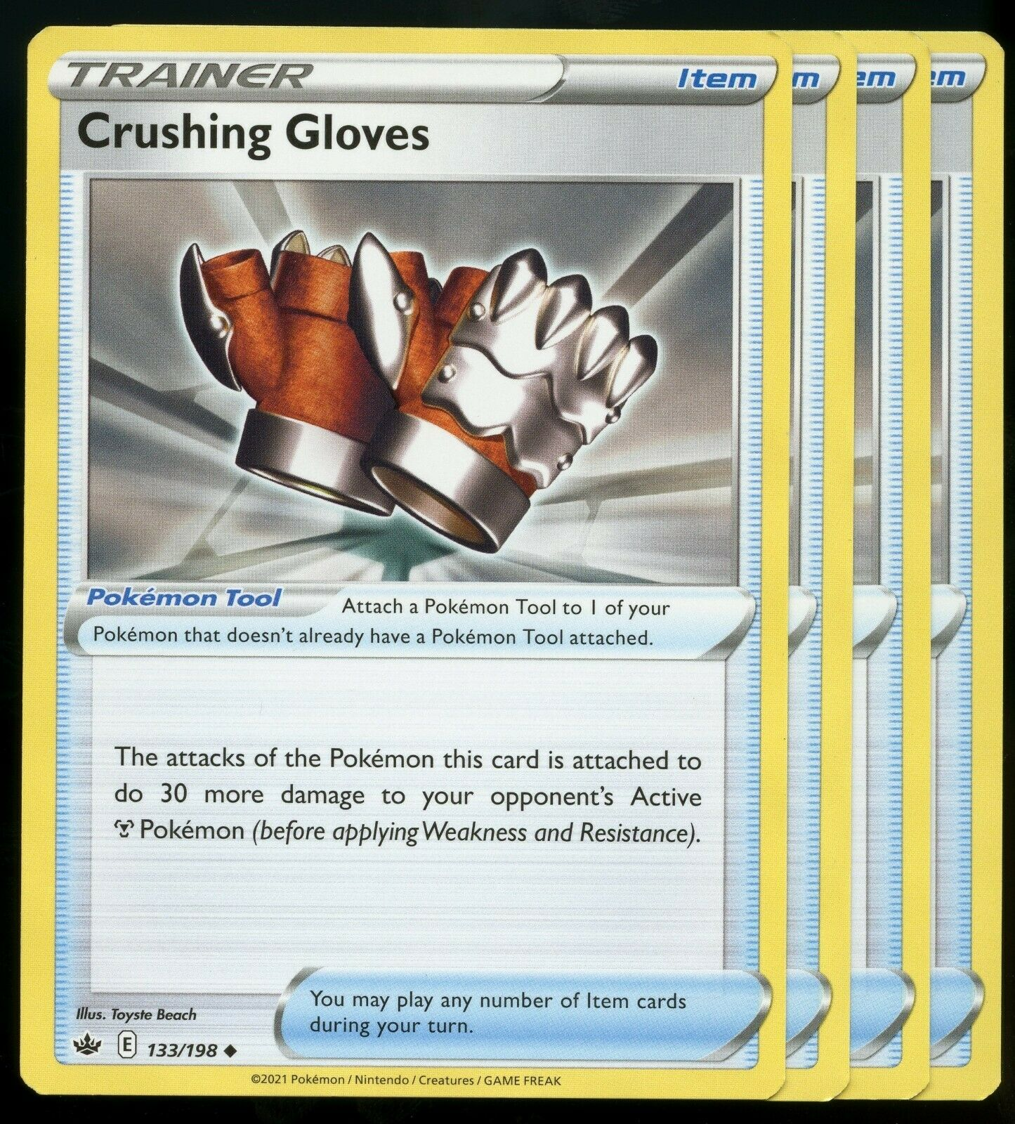 Pokemon Cards x4 Crushing Gloves 133/198 Chilling Reign Playset NM