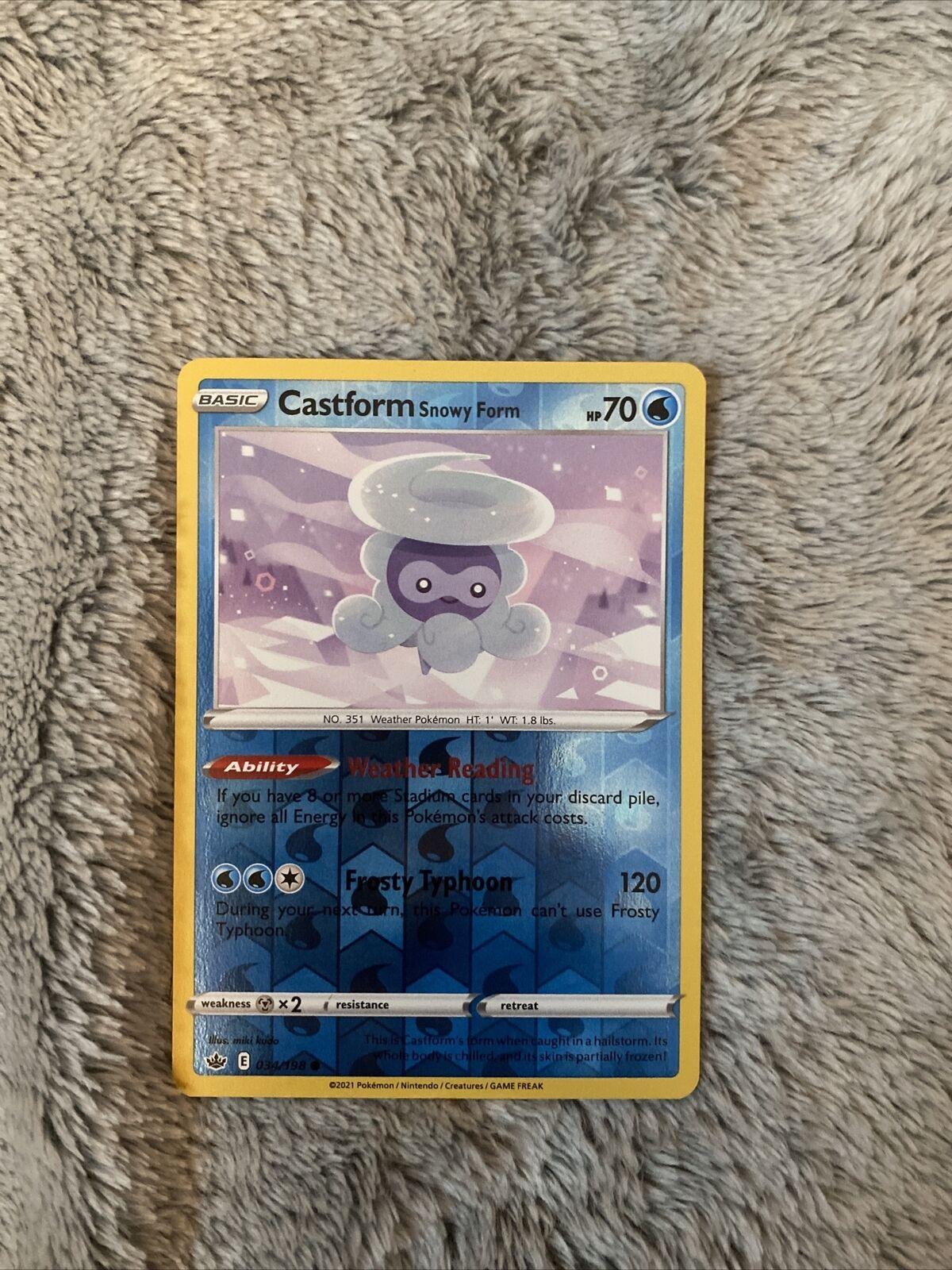 Pokemon - CASTFORM SNOWY FORM - 034/198 - Reverse Holo - Chilling Reign - NM/M - Image 1