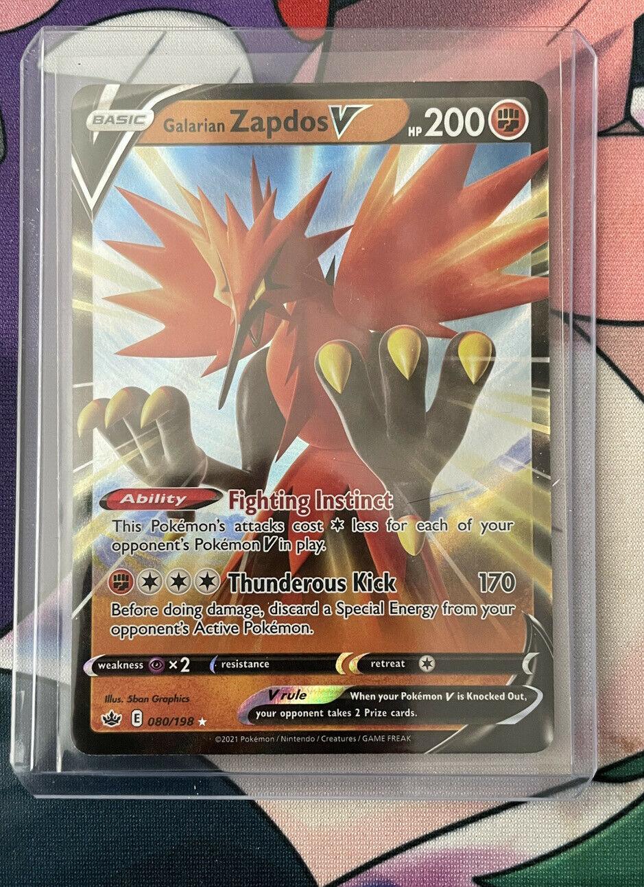 Pokemon Galarian Zapdos V 080/198 Ultra Rare Chilling Reign
