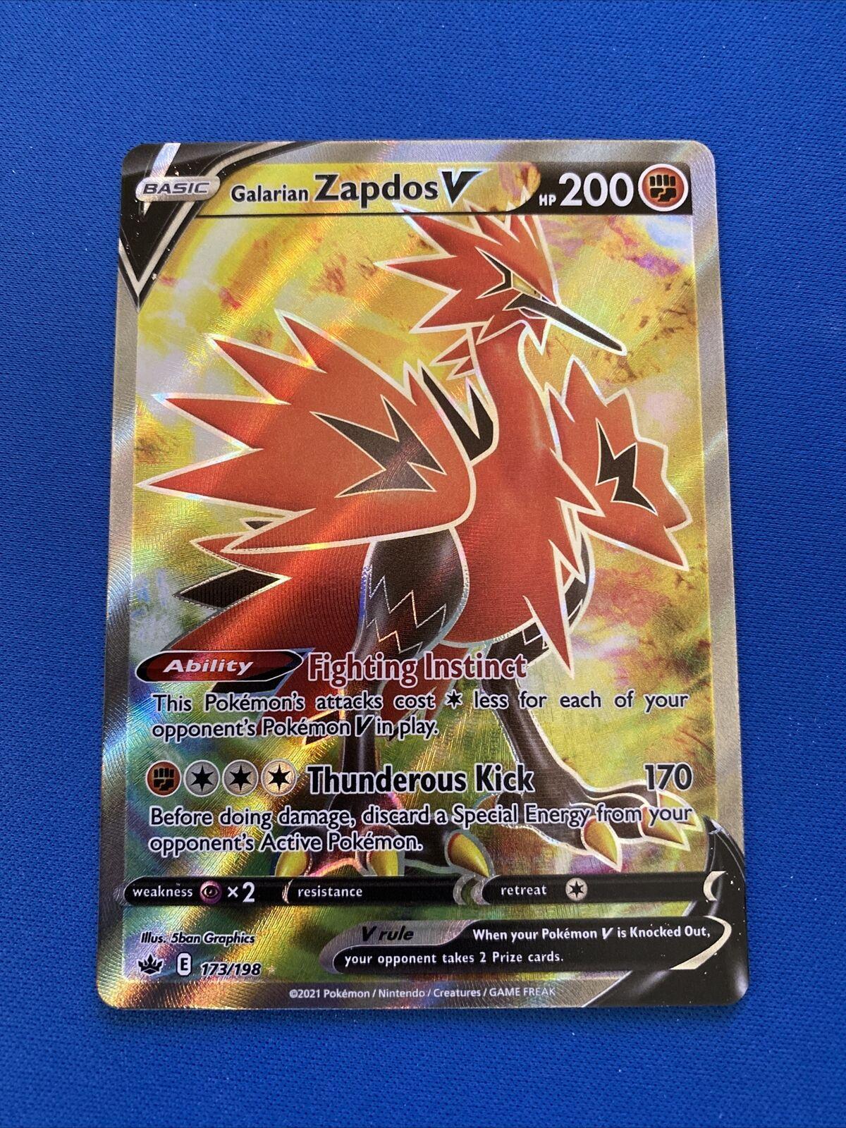 Pokémon - Galarian Zapdos V - 173/198 - Full Art! - Ultra Rare - Chilling Reign