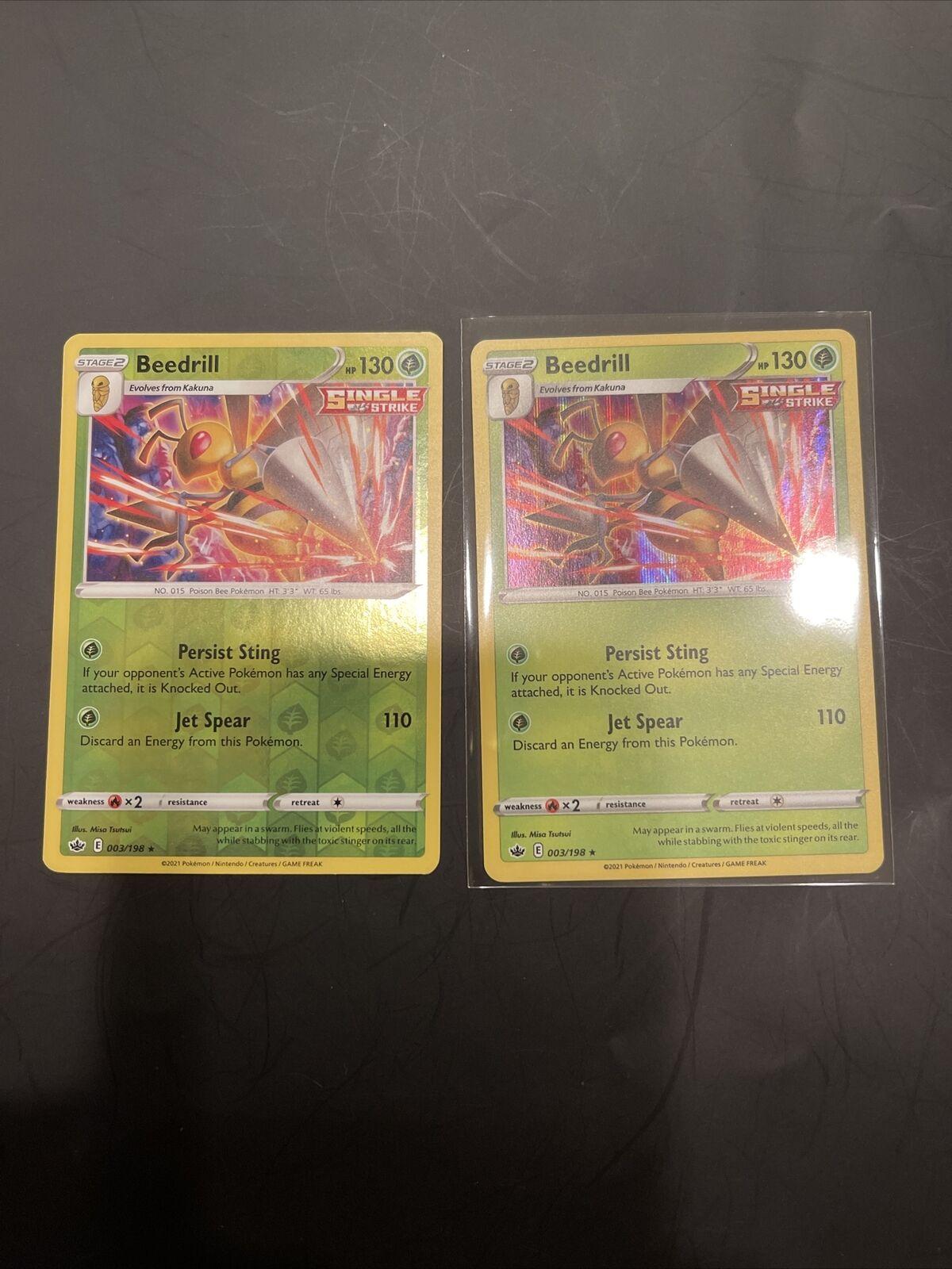 🔥x2 Beedrill - 003/198 - Holo Rare Pokemon SS06 Chilling Reign M/NM