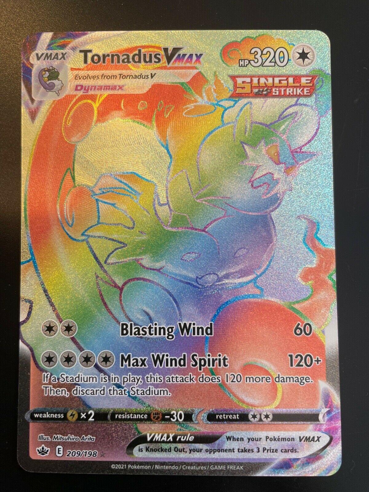 Pokémon Tornadus Vmax 209/198, Rainbow Rare, Secret Rare, Chilling Reign