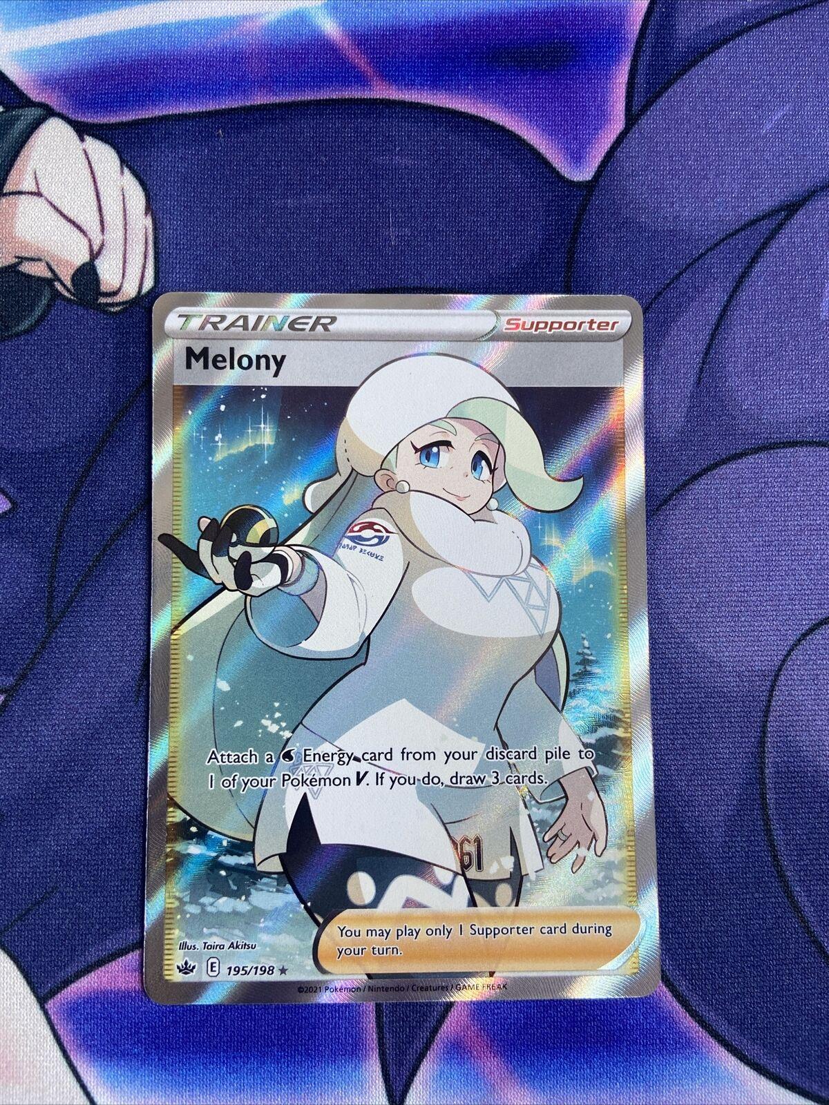 Melony 195/198 Chilling Reign Full Art Trainer Ultra Rare Holo Pokemon Card Mint