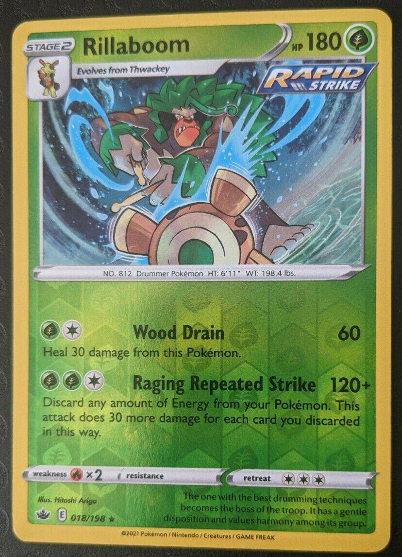 018/198 Rillaboom   Rare Reverse Holo Pokemon Trading Card SWSH06 Chilling Reign