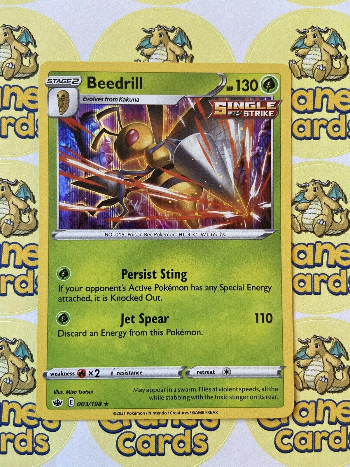Beedrill Holo Rare 003/198 SWSH Chilling Reign Mint Pokemon Card