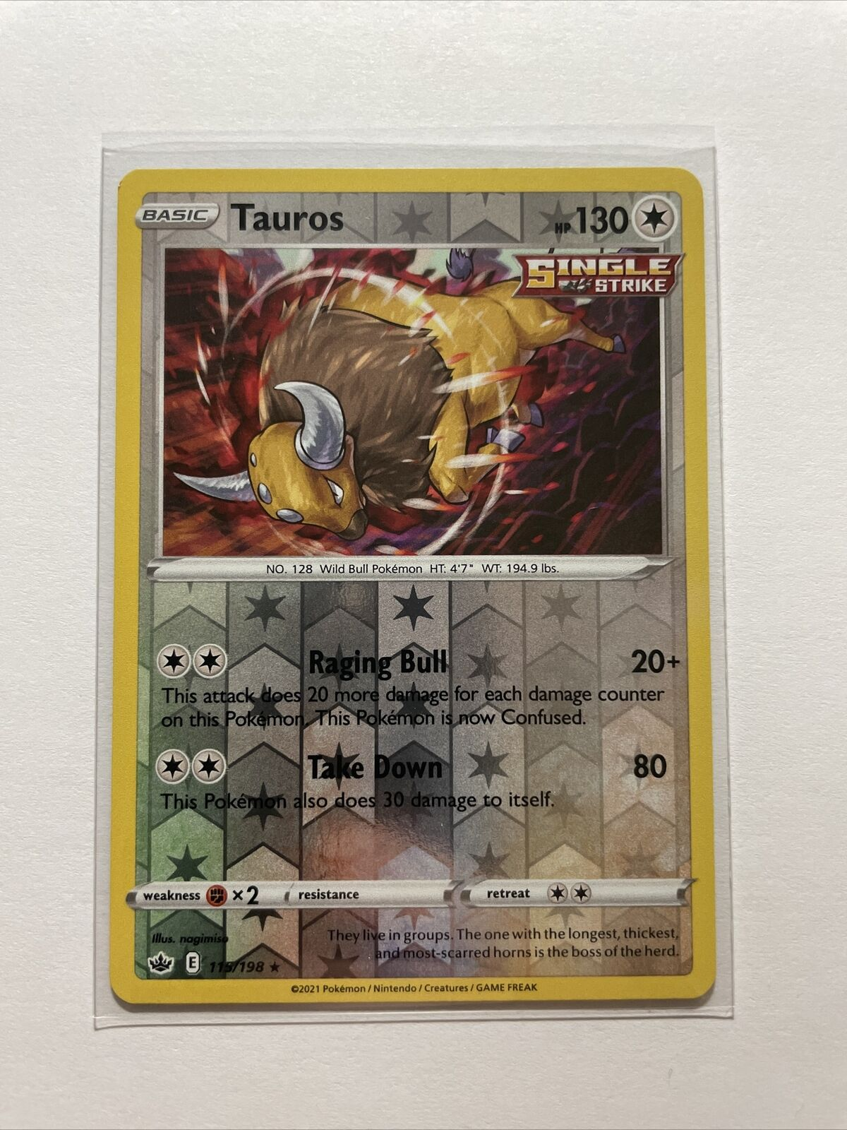 Tauros 115/198 Reverse Holo Chilling Reign Pokemon Card - MINT