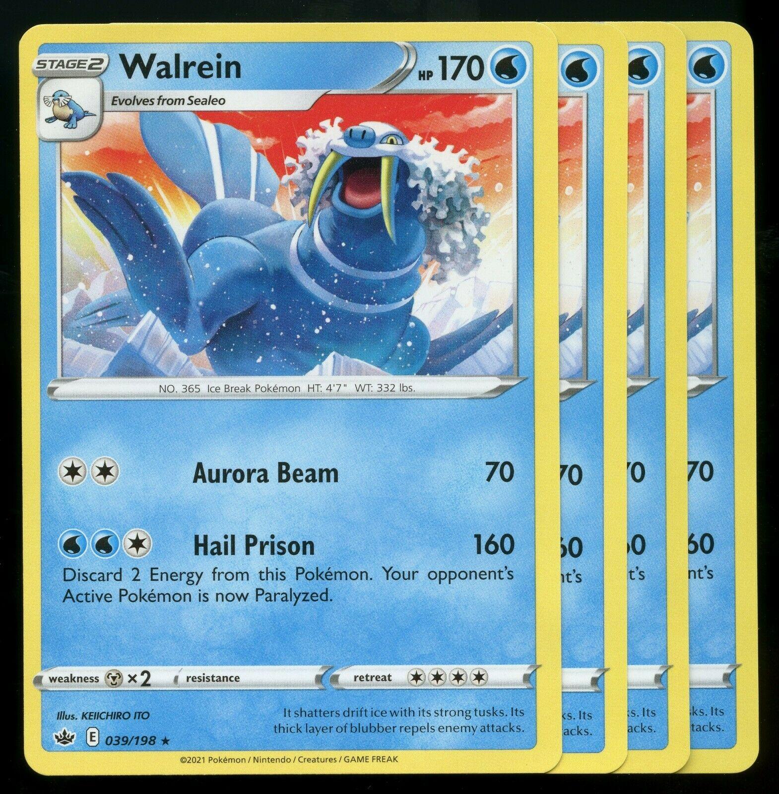 Pokemon Cards x4 Walrein 039/198 Rare Chilling Reign Playset Excellent