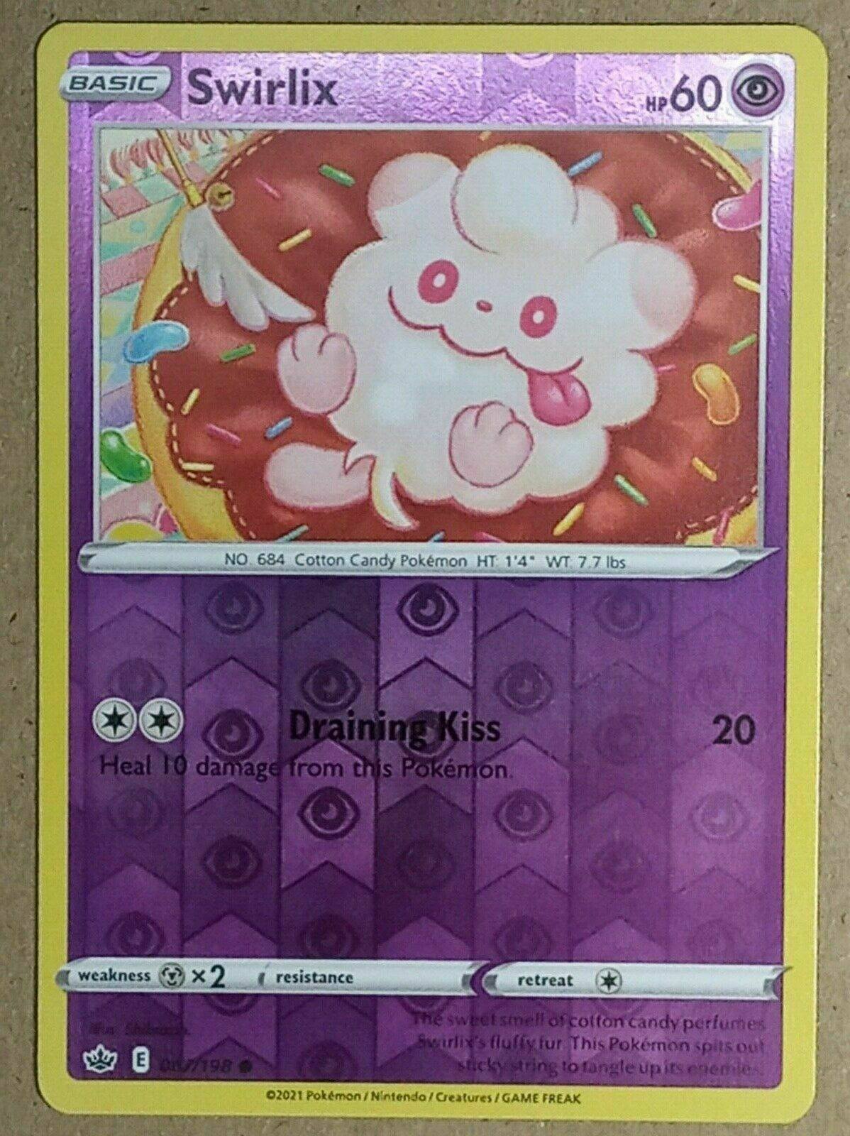 POKEMON CARD - Swirlix 067/198 - Reverse Holo - Chilling Reign - NM - Image 1