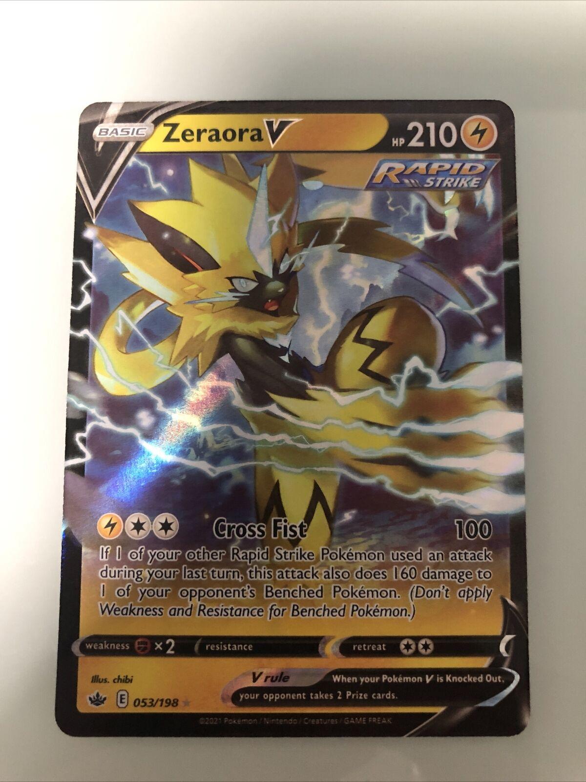Pokemon Zeraora V 053/198 Ultra Rare Chilling Reign SWSH Near Mint Condition