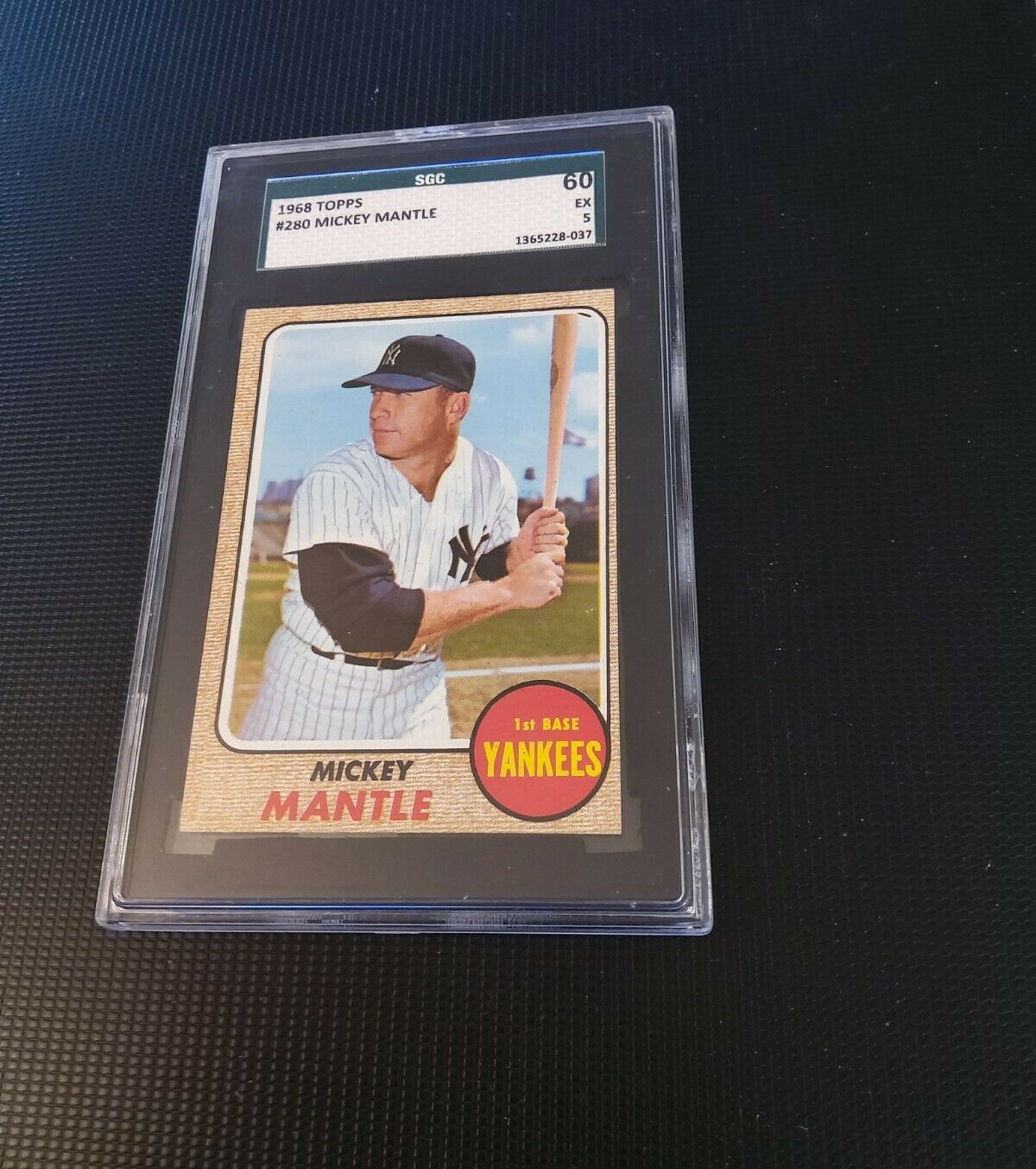 1968 TOPPS BASEBALL #280 MICKEY MANTLE SGC 5 EXCELLENT (60), Nice Corners - Image 1