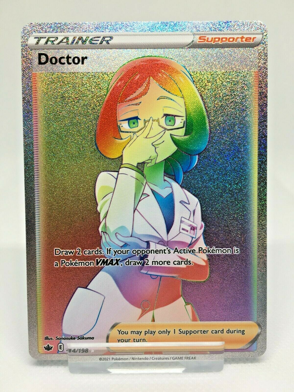 Doctor 214/198 Chilling Reign Full art secret rainbow rare Pokemon card