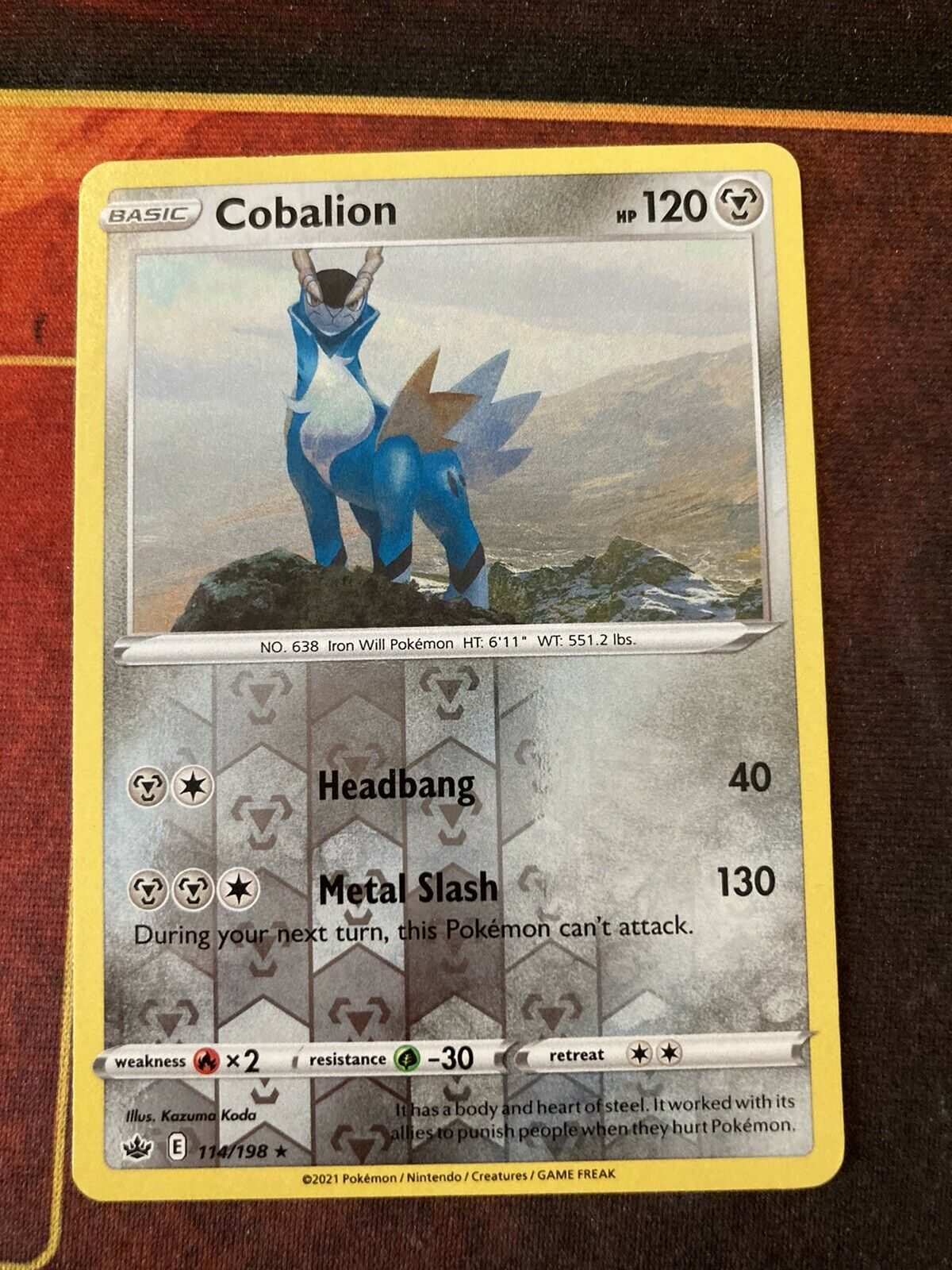 COBALION 114/198 REVERSE HOLO POKEMON CARD CHILLING REIGN-NM