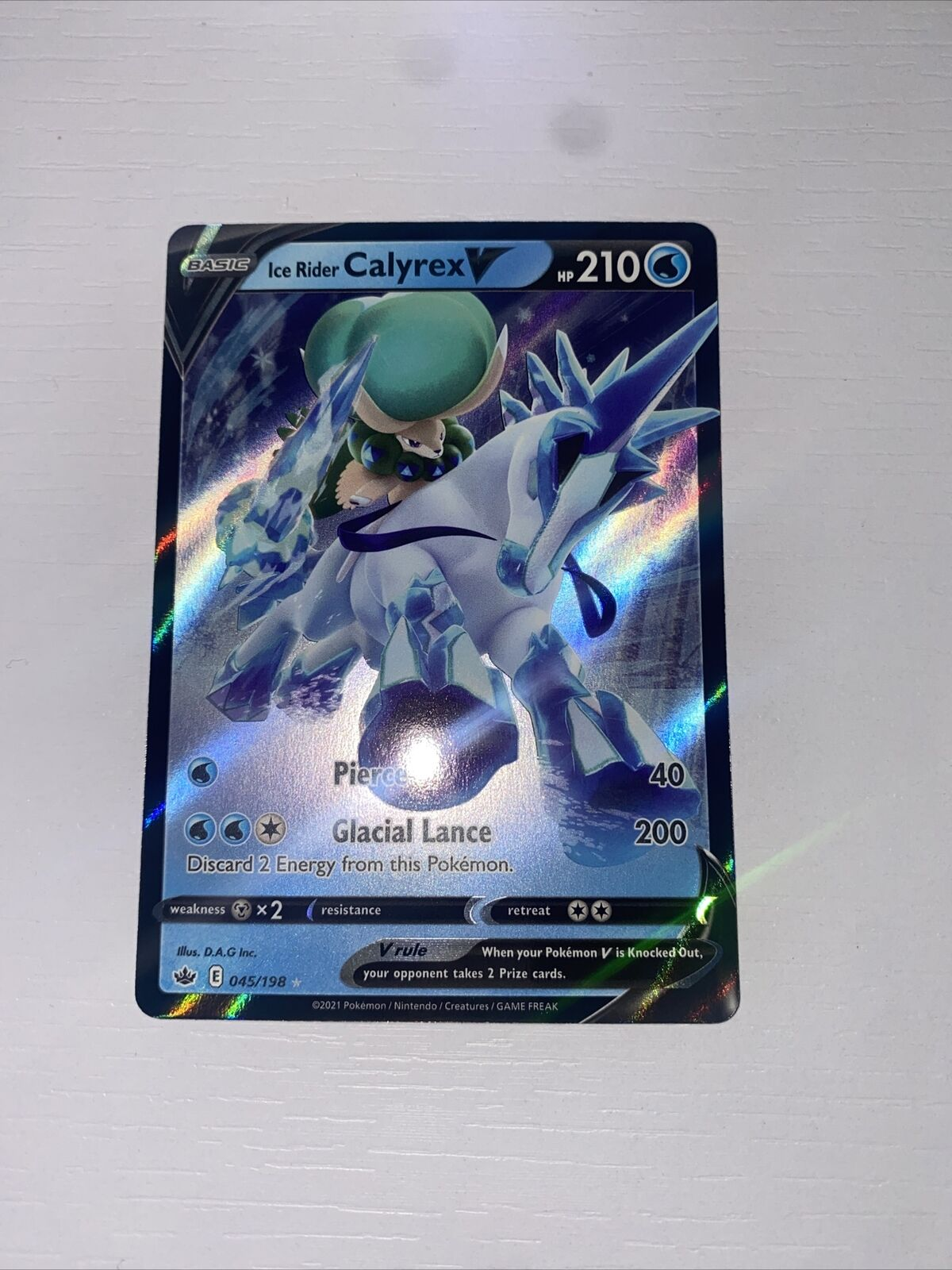 Pokemon Chilling Reign Ice Rider Calyrex V #045/198 NM WITH SLEEVESS