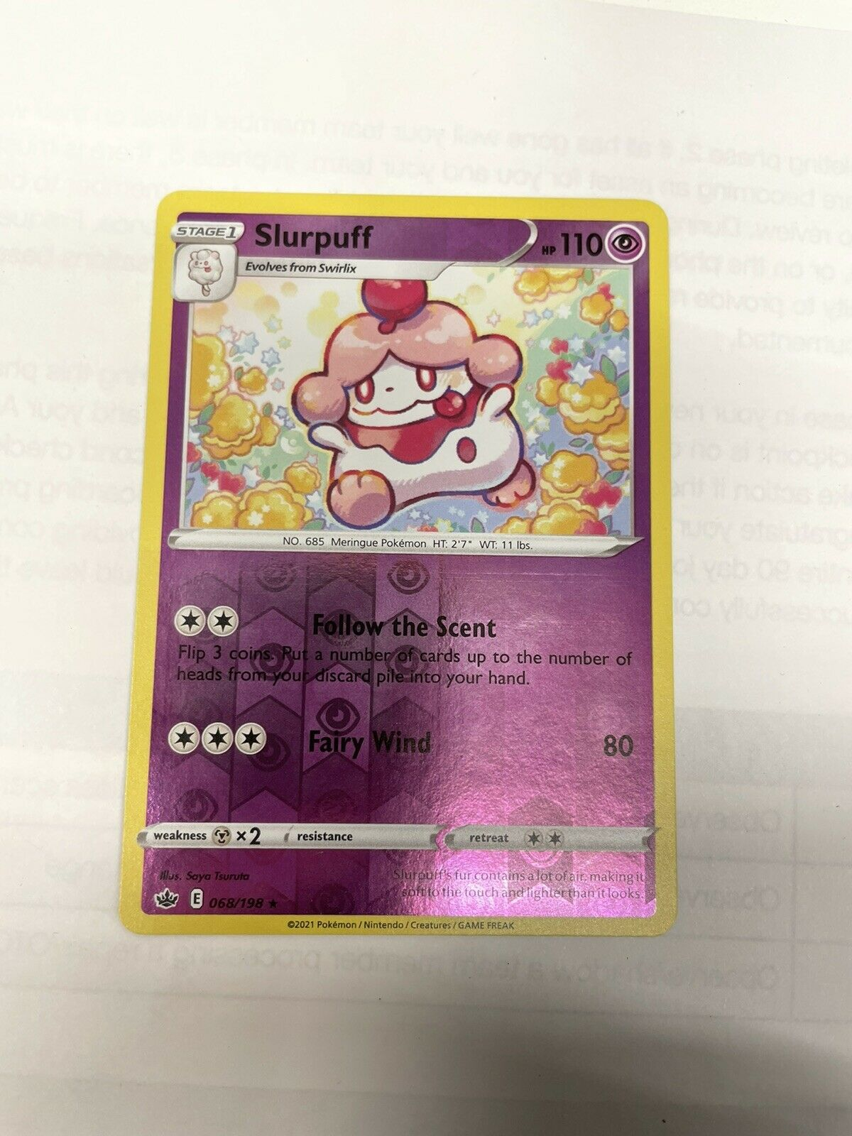Pokemon TCG Chilling reign reverse holo Slurpuff 068/198 NM