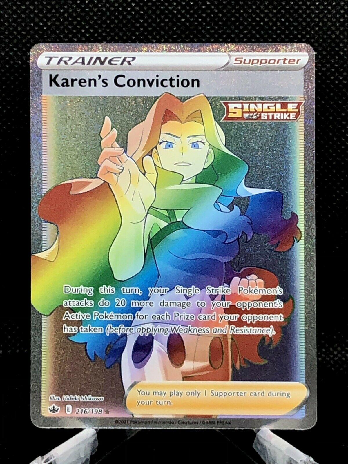 KAREN'S CONVICTION RAINBOW SECRET RARE Chilling Reign 216/198 Pokemon PSA 9-10!!