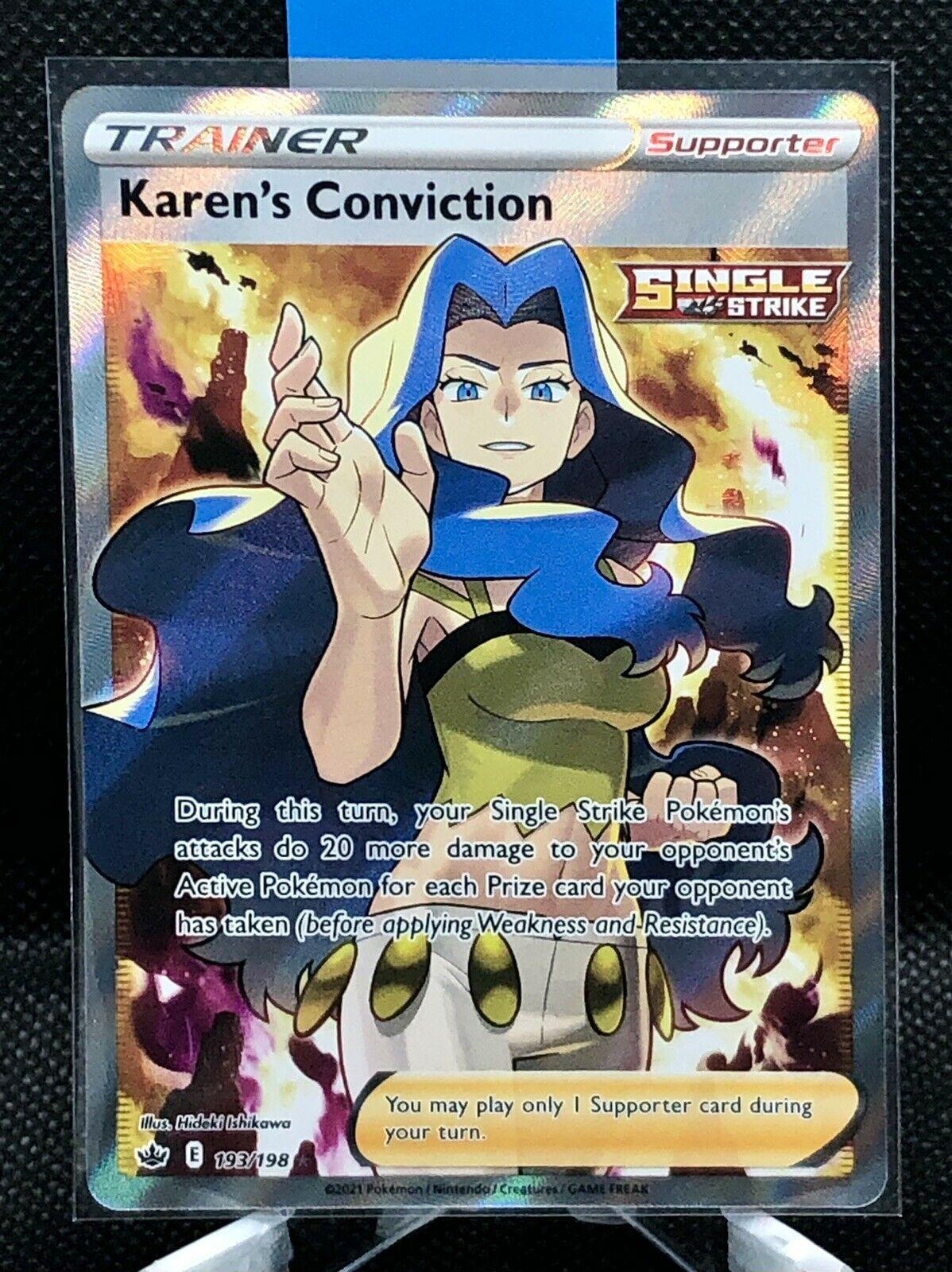 Karen's Conviction Full Art Chilling Reign 193/198 PSA 9 or 10 Pokemon!!