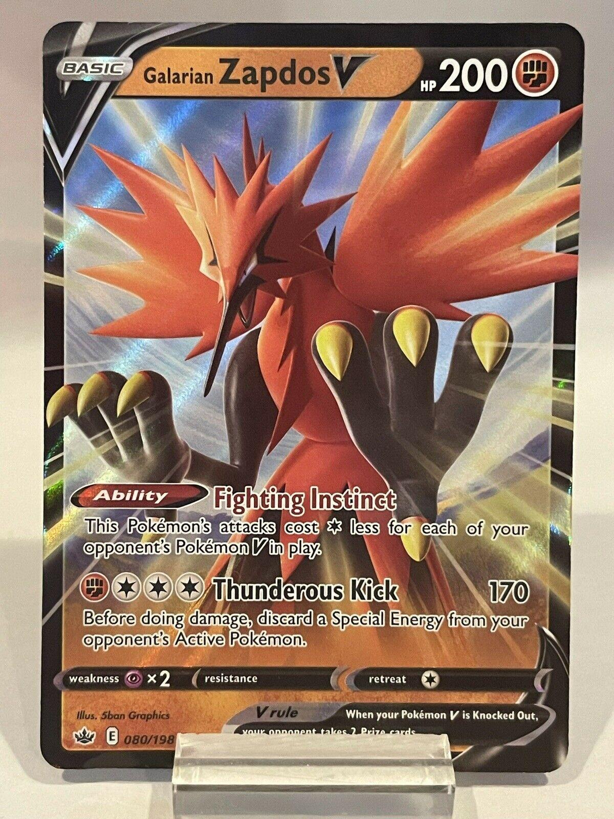 Galarian Zapdos V 080/198 Ultra Rare Holo Pokémon Chilling Reign LP See Desc.