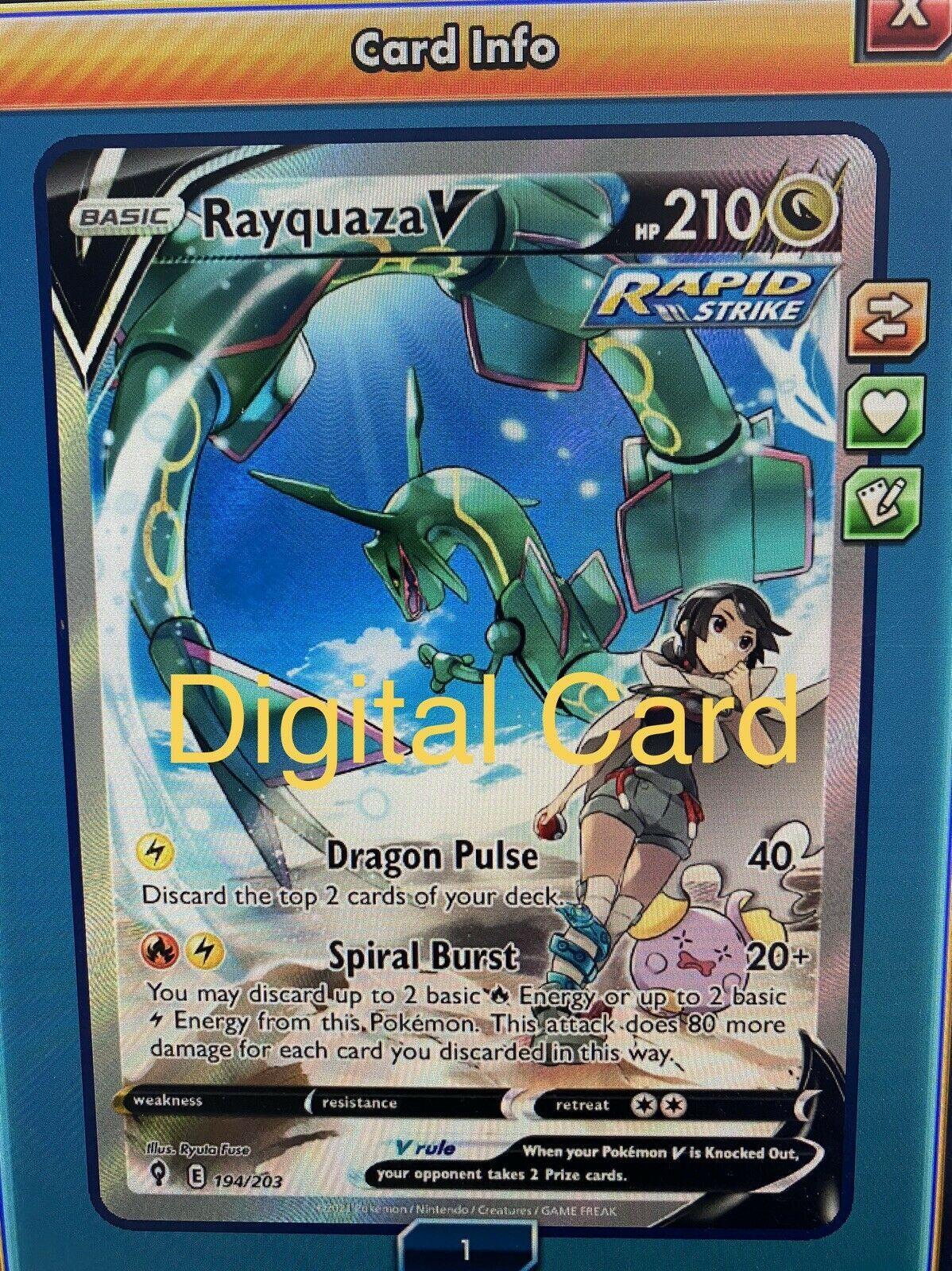 Pokémon Alternate Art Rayquaza V 194/203 Alt Evolving Skies DIGITAL PTCGO Online