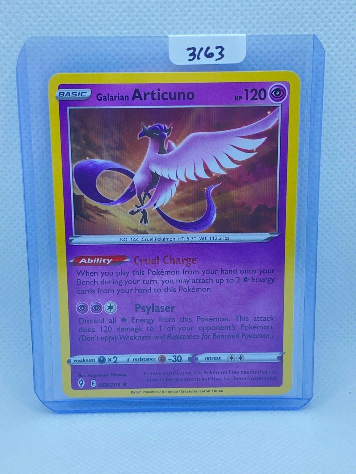 Pokémon TCG Galarian Articuno Holo 063/203 | Evolving Skies | Play/Grade Ready