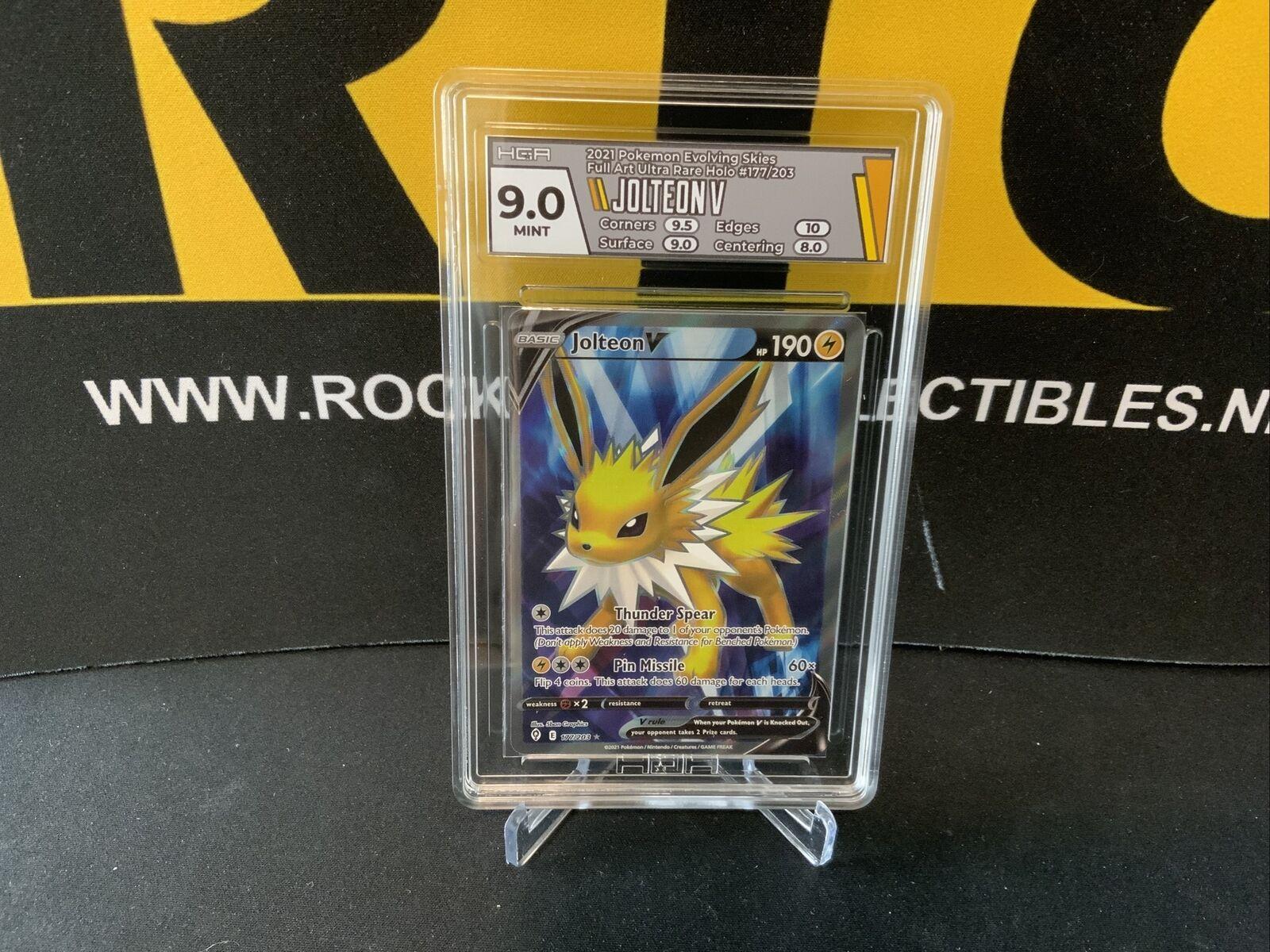 Pokemon HGA 9 Jolteon V Full Art 177/203 Evolving Skies *PSA BGS*