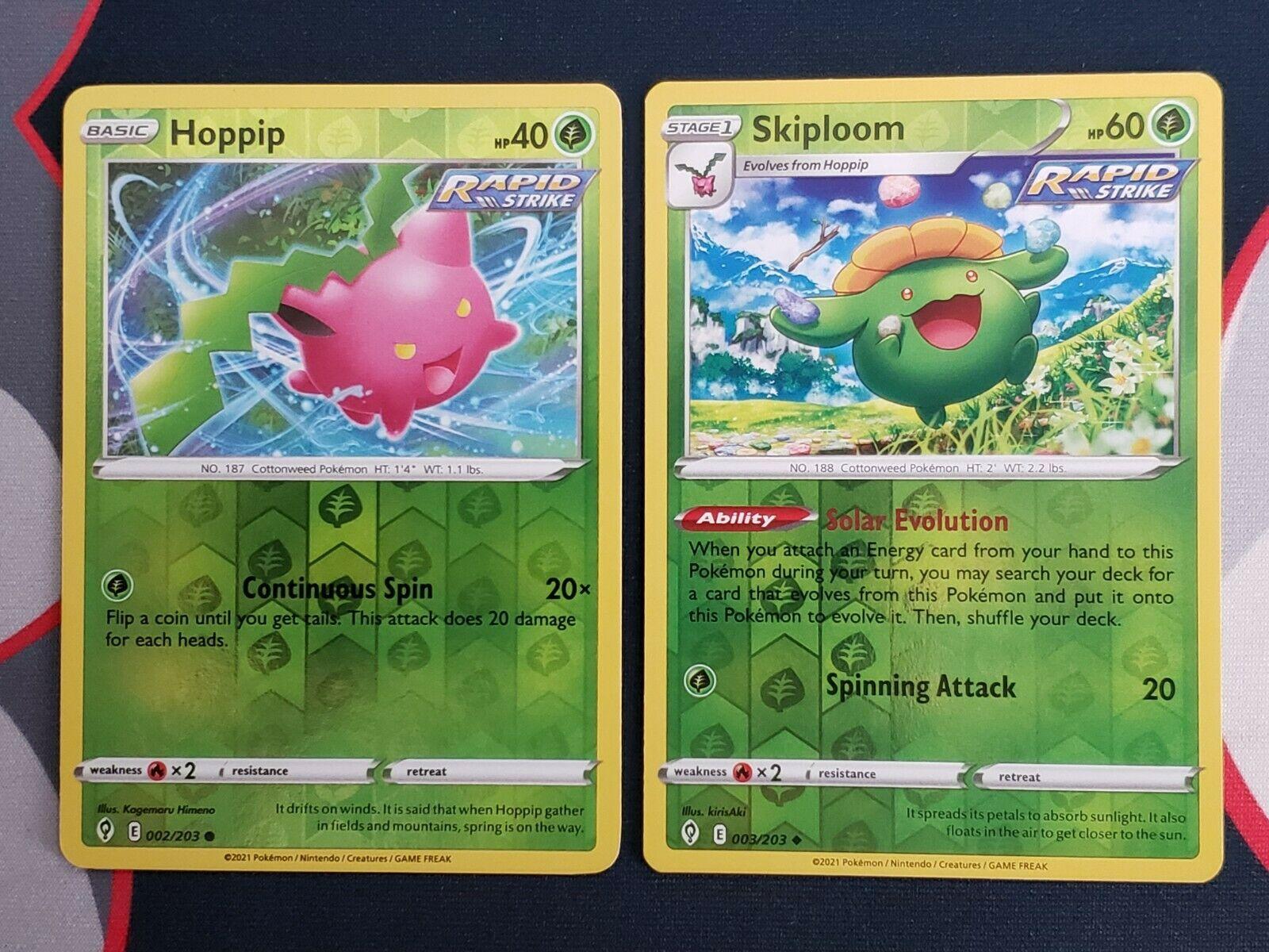 Pokemon Evolving Skies 002/203 Hoppip and 003/203 Skiploom Reverse Holo NM