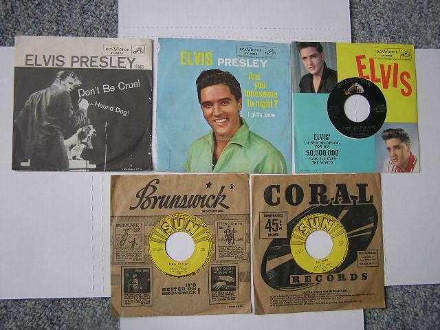 Five 45's Elvis Presley & Johnny Cash Sun & RCA Victor Labels Hound Dog/Lonesome
