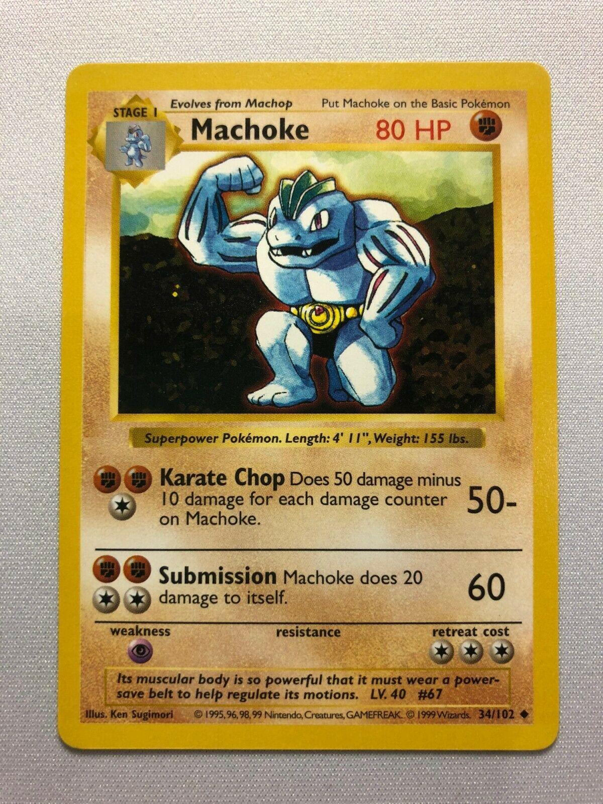 34//102 Pokemon Card. Machoke Base Set 1999 Unlimited Print NM
