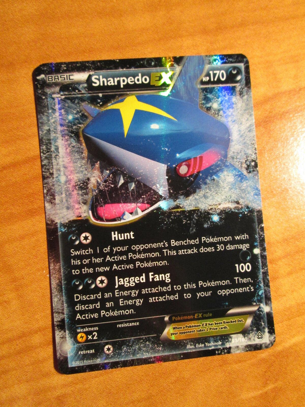 LP Pokemon SHARPEDO EX Card PRIMAL CLASH Set 91/160 XY X and Y Ultra Rare - Image 1