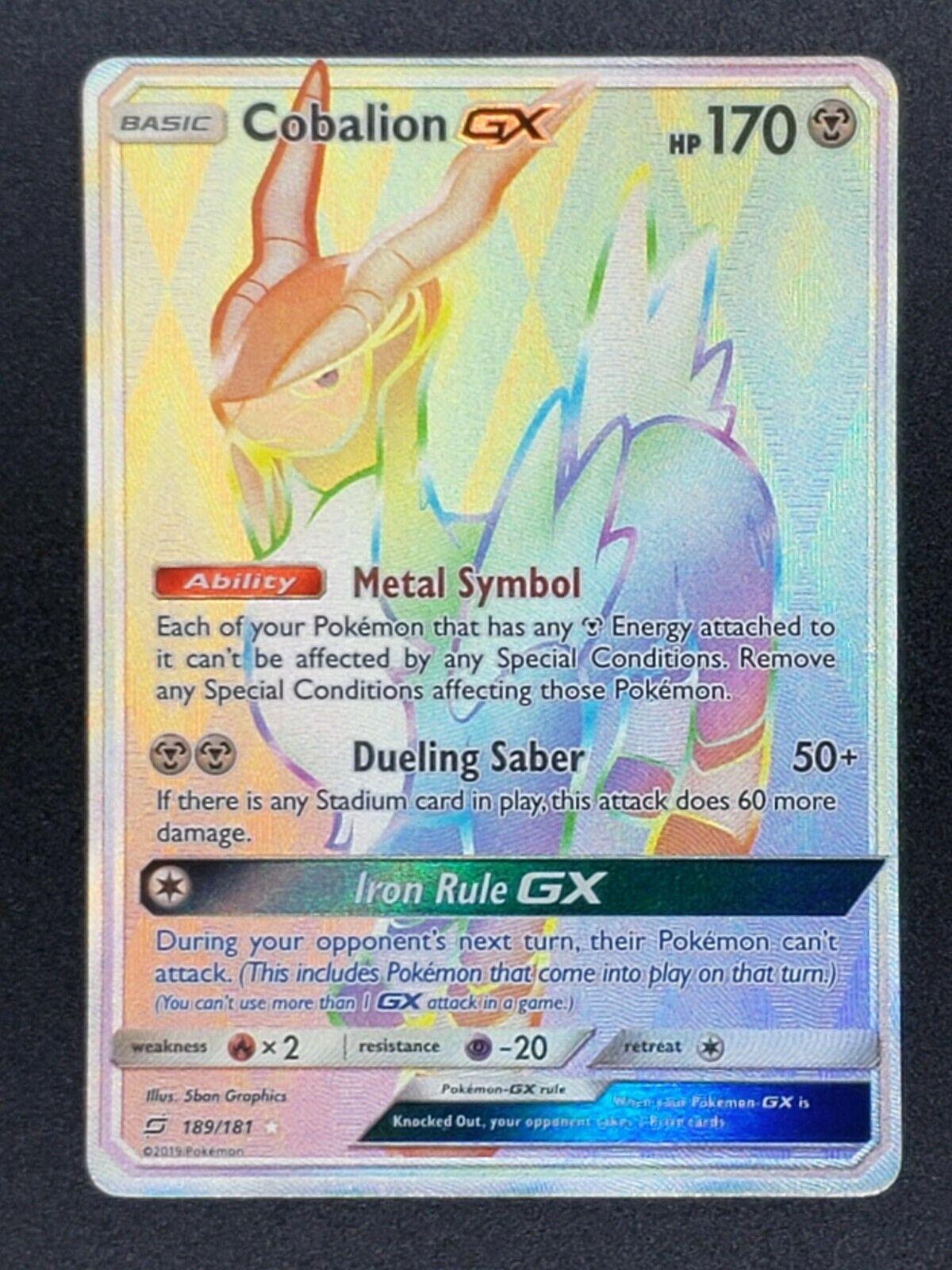Pokemon Sun /& Moon Team Up Cobalion GX 189//181 Full Art Secret Rare