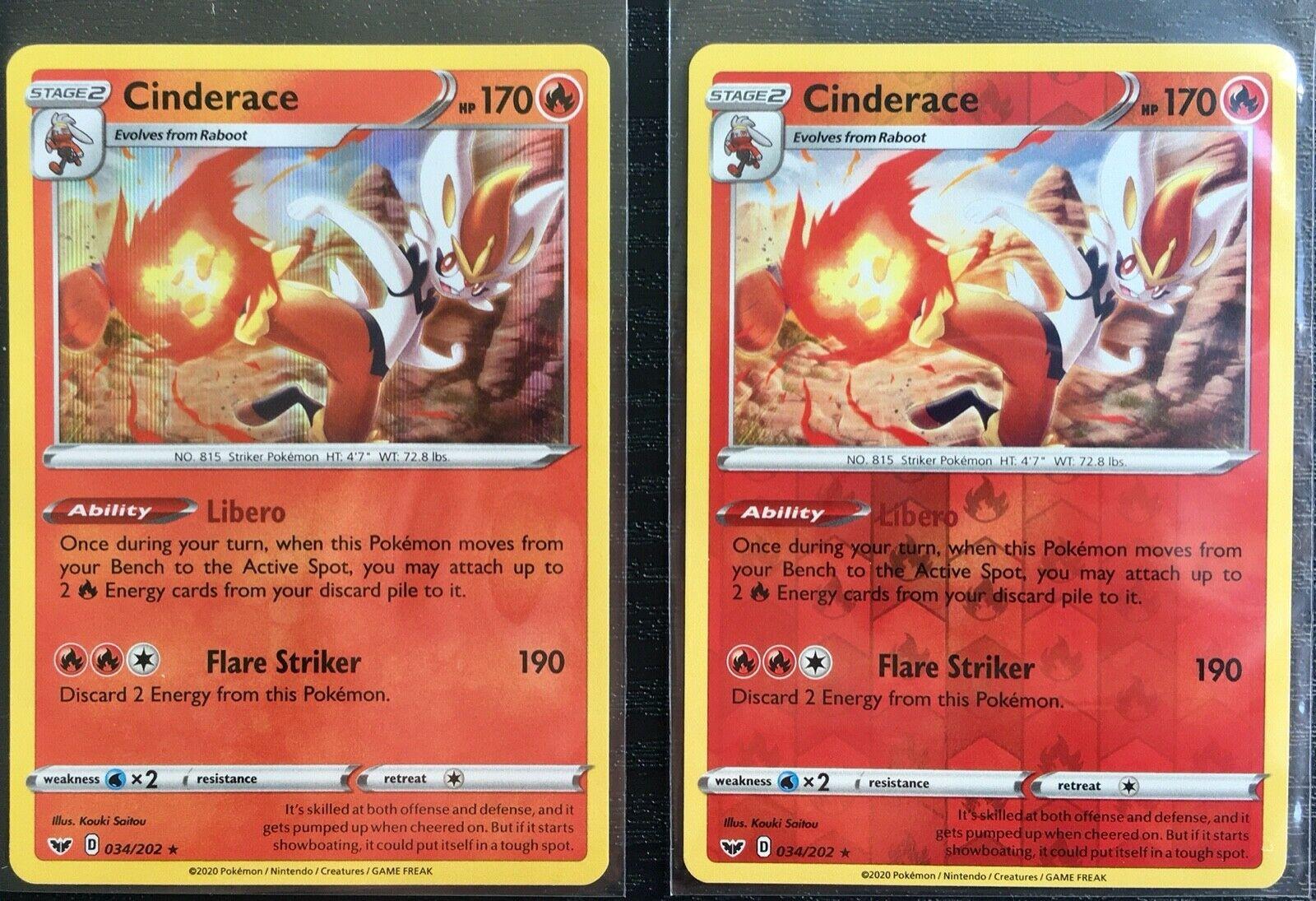 2020 Cinderace 034//202 Rare Holo Sword /& Shield Set Pokemon Card - NM