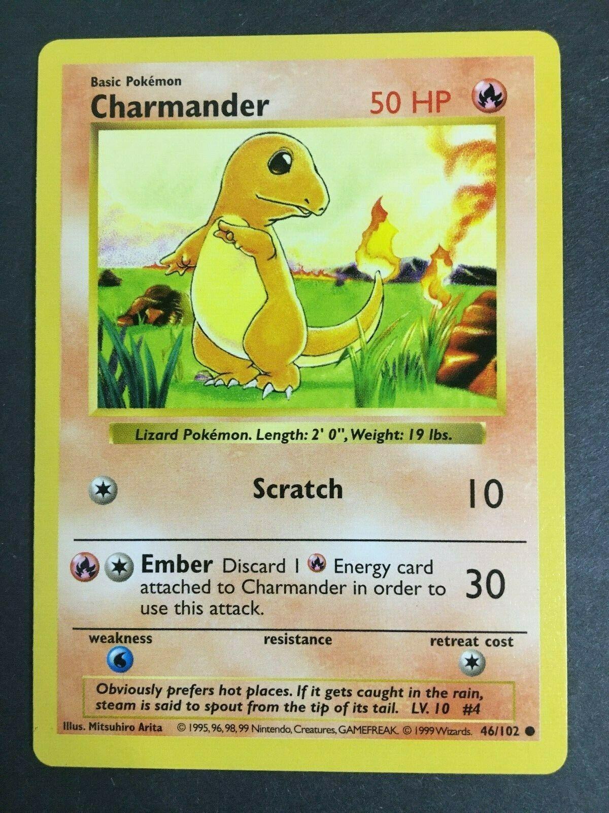 Pokemon Base Set Charmander 46//102 Pokemon Card Excellent Condition