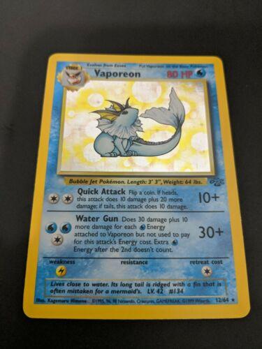 good condition Vaporeon jungle Holo rare Pokemon Card 12//64